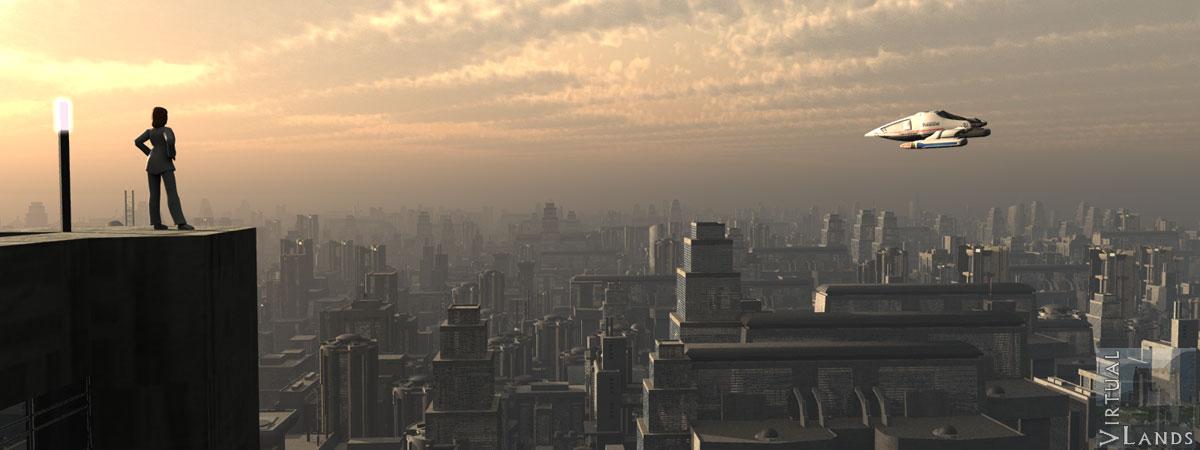Dystopia cityscape