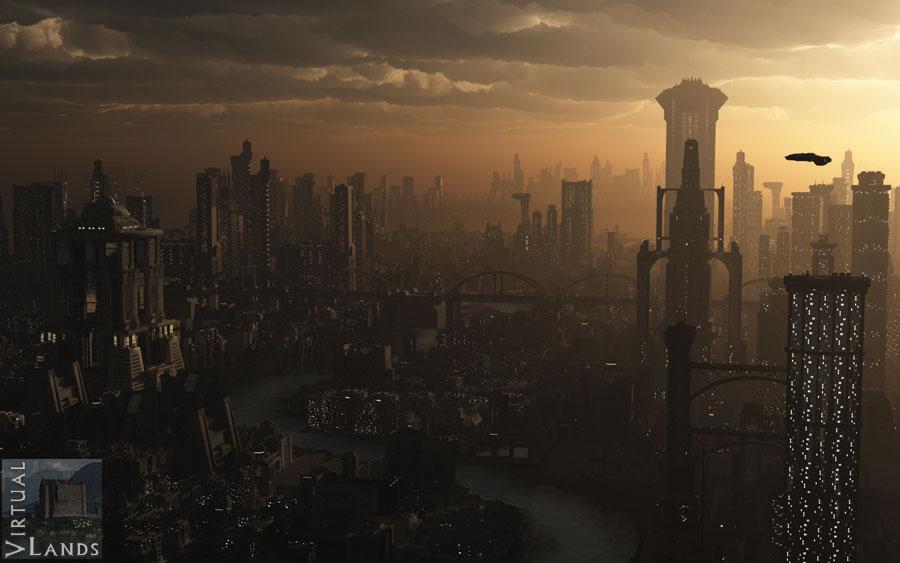 Futuristic city evening